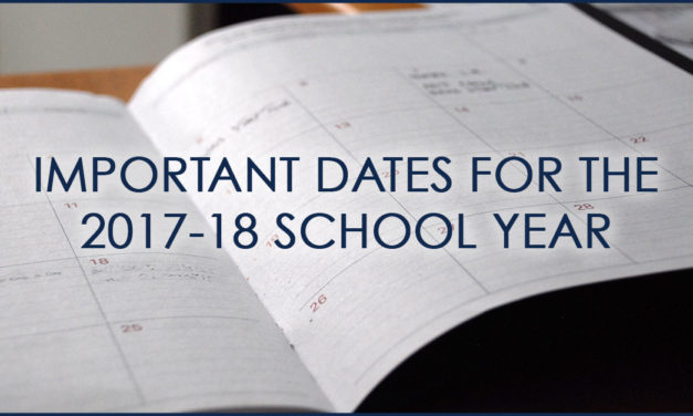 Important Dates for the 2017-18 School Year