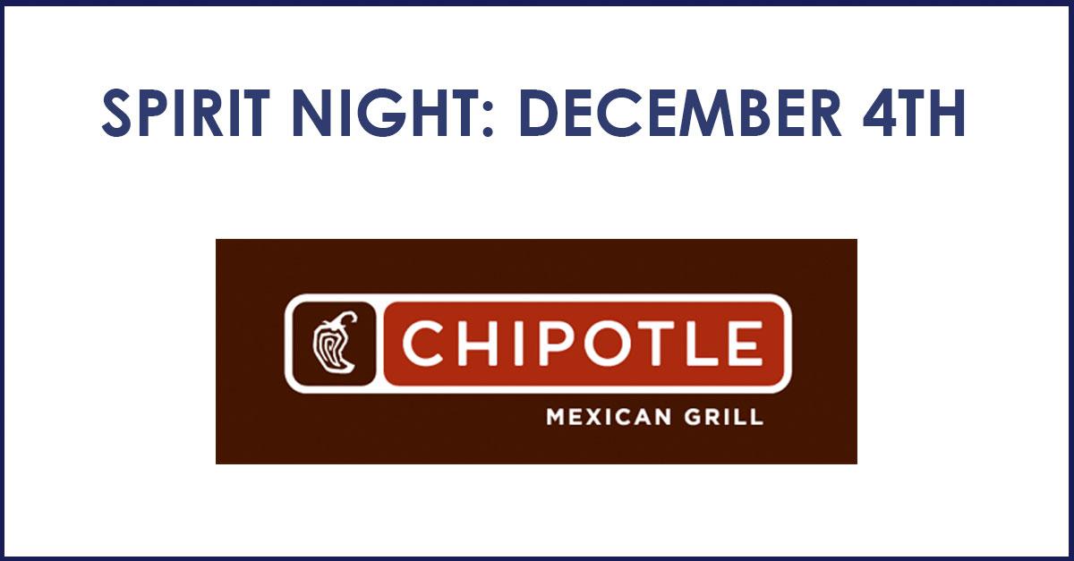 Spirit Night at Chipotle – Dec 4th